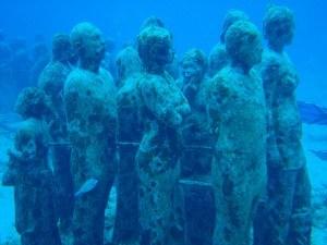 Underwater sculptures in Cancun