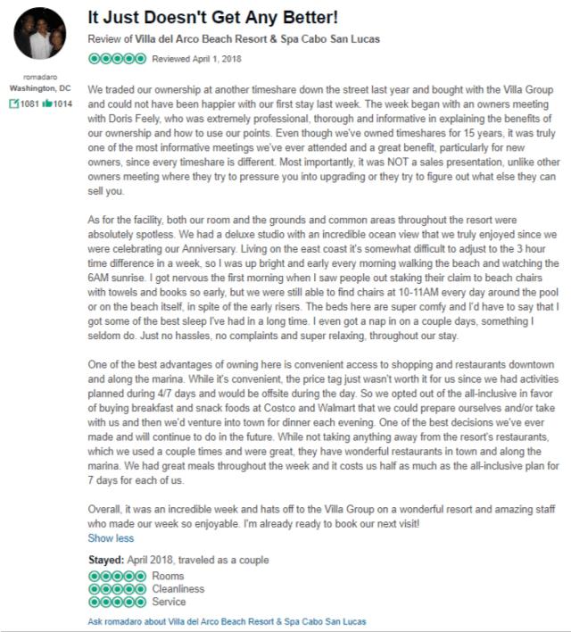 villa del arco cabo timeshare reviews